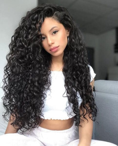 long curls black hairstyle