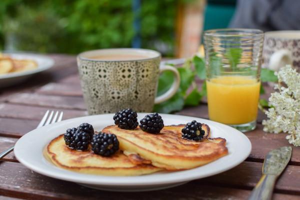 Pancakes with Blackberries on top